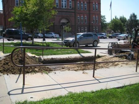 The dirt is removed for the library patio.