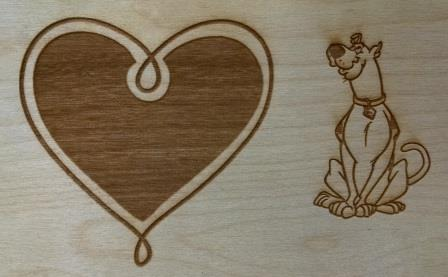 laser wood scooby heart